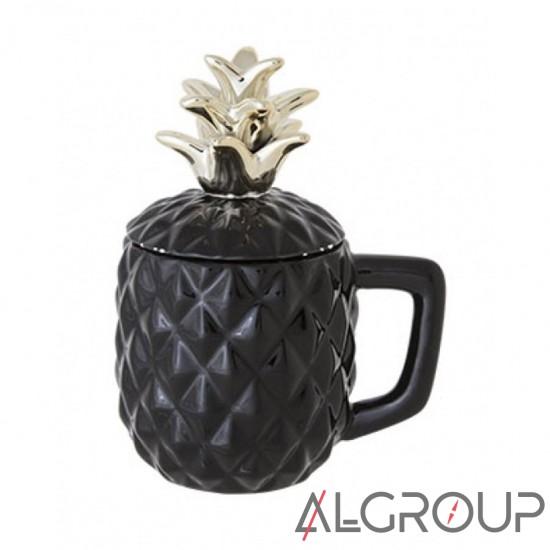 купить Кружка Pineapple, d 9 х h 10 х 17.5 см, для коктейля, черная, ананас, Cosy&Trendy (Кози энд трен